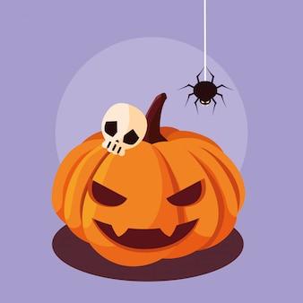 Calabaza de halloween con araña y calavera