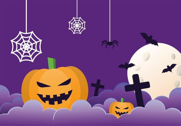 Calabaza de halloween con araña en la escena nocturna del cementerio