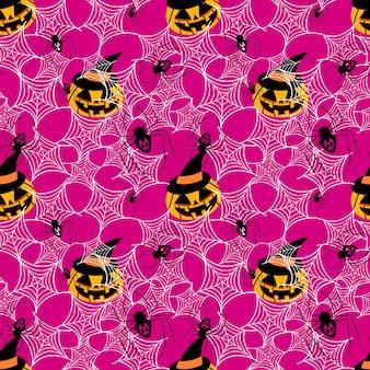 Calabaza de halloween y araña de patrones sin fisuras.