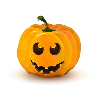 Calabaza de halloween con cara graciosa aislado en blanco