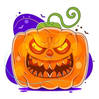 Calabaza de halloween con cara de miedo sobre fondo blanco.