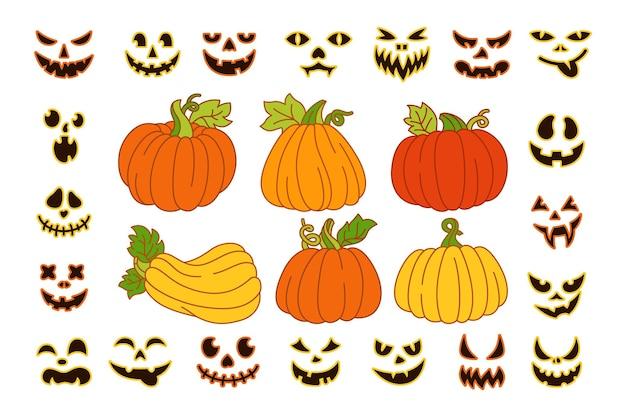 Calabaza de halloween cara tallada conjunto de dibujos animados sonrisa espeluznante calabazas sonrientes con símbolo de sonrisa vacaciones