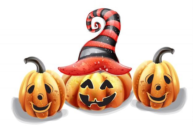 Calabaza de halloween caras felices acuarela. sonrientes decoraciones de sombrero de bruja de calabaza