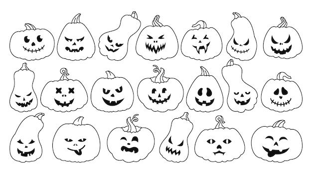 Calabaza de halloween, caricatura, contorno, conjunto, línea, calabazas, con, asustado, y, caras sonrientes, espeluznante, sonrisa