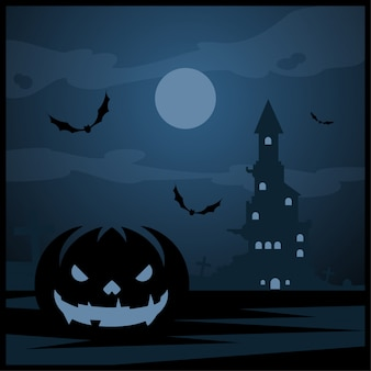 Calabaza de halloween y castillo oscuro con luna azul sobre fondo de cementerio