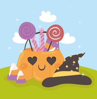 Calabaza de halloween y dulces con sombrero
