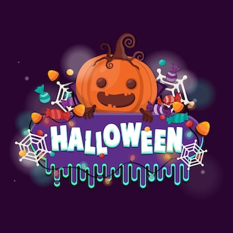 Calabaza de halloween y dulces para truco o trato. plantilla de volante o invitación para fiesta de halloween.