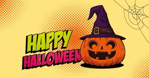 Calabaza de halloween con estilo pop art de bruja sombrero