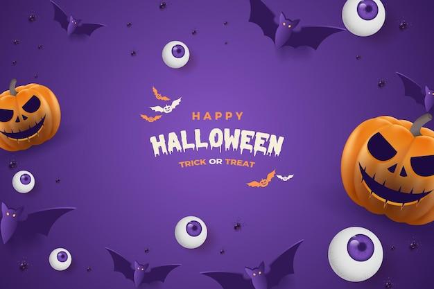 Calabaza de halloween feliz con murciélago y dulces sobre un fondo morado