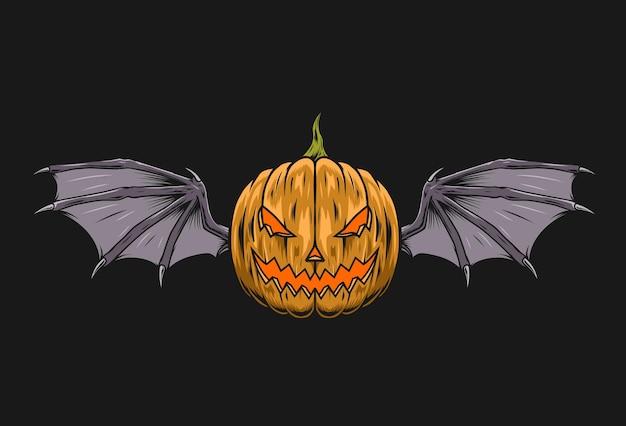 Calabaza de halloween con ilustración de ala de murciélagos
