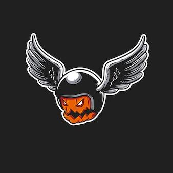 Calabaza de halloween con ilustración de casco de jinete