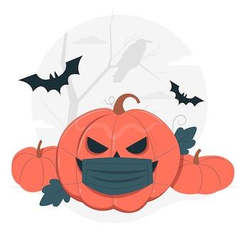 Calabaza de halloween con una ilustración del concepto de mascarilla
