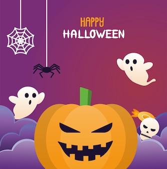 Calabaza de halloween con letras y fantasmas.
