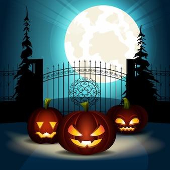 Calabaza de halloween linterna puerta del castillo. vector plano