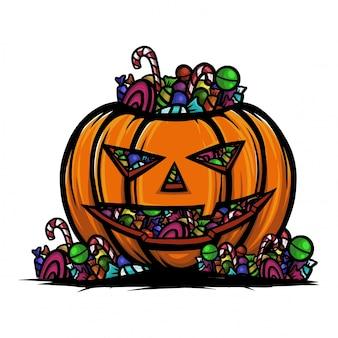 Calabaza de halloween llena de caramelo lollipop y chocolate.
