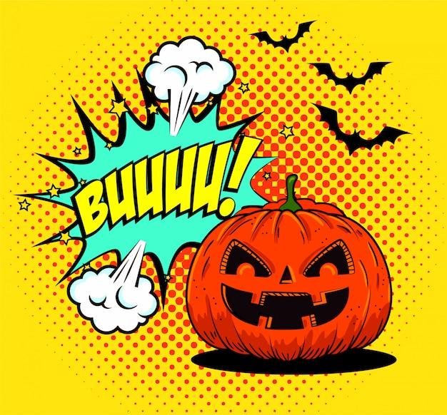Calabaza de halloween con murciélagos volando en estilo pop-art