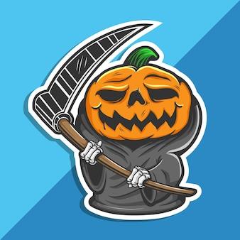 Calabaza de halloween de la parca con la hoz