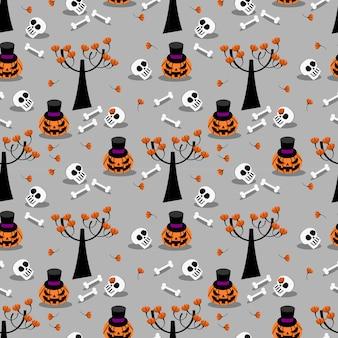 Calabaza de halloween y el patrón sin fisuras cráneo.