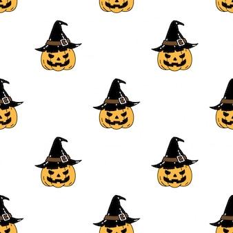 Calabaza halloween de patrones sin fisuras sombrero de bruja dibujos animados