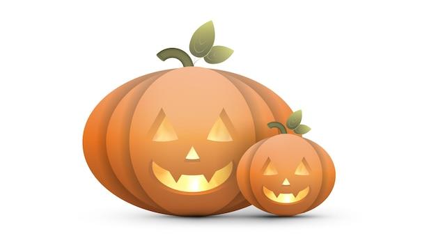 Calabaza de halloween realista con fuego en el interior. una calabaza de plástico con cara de miedo. vector.