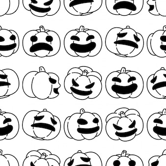 Calabaza, halloween, seamless, patrón, caricatura