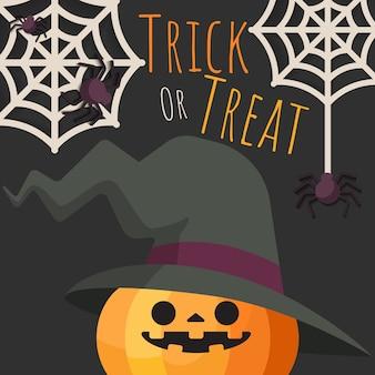 Calabaza de halloween con sombrero de bruja con arañas y telarañas.