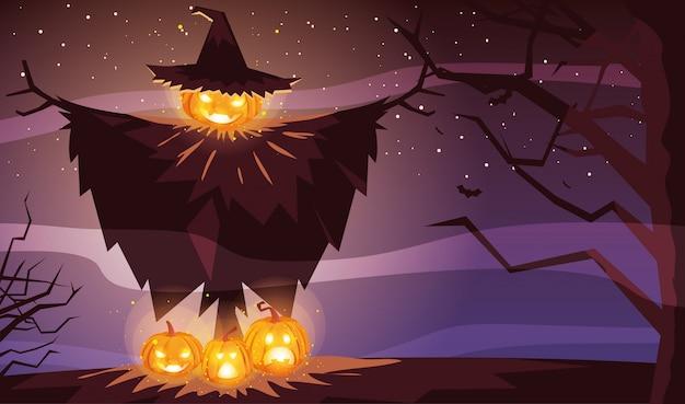 Calabaza de halloween con sombrero de bruja en escena de halloween