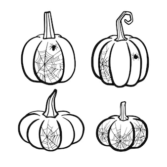 Calabaza de halloween con telaraña ilustración vectorial con cuatro calabazas de halloween aisladas