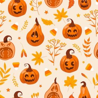 Calabaza jack lantern de patrones sin fisuras para halloween. dibujo gráfico de ilustración linda de vector en estilo de dibujos animados. hojas de otoño, brujas y magia. para papel tapiz, impresión en tela, envoltura.