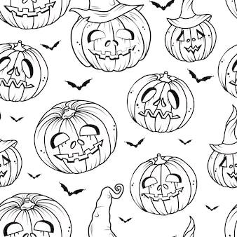 Calabaza y murciélago contorno de patrones sin fisuras. fondo de vector de feliz halloween. libro de colorear.