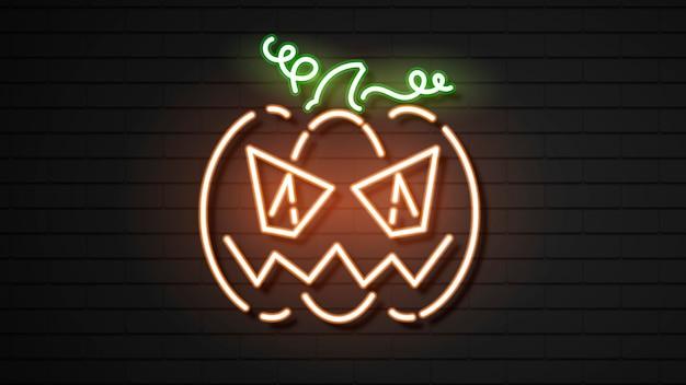 Calabaza de neón de halloween en la oscuridad