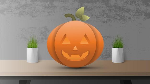 Calabaza realista sobre la mesa. calabaza 3d con cara de halloween se encuentra en una mesa de madera. vector realista.