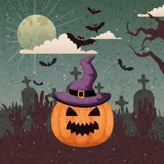 Calabaza con sombrero de bruja en escena halloween