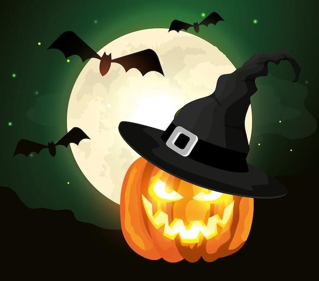 Calabaza con sombrero bruja y murciélagos volando en escena de halloween