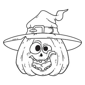 Calabaza sonriente de halloween con sombrero de bruja