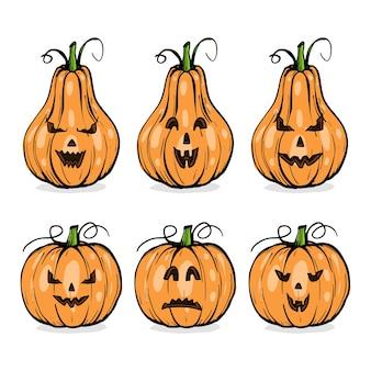 Calabazas con caras de halloween, conjunto de emociones, boceto dibujado a mano