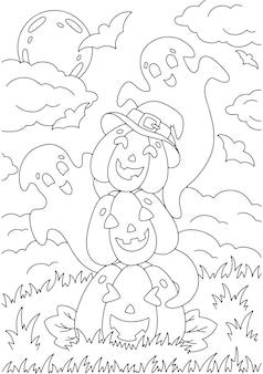 Calabazas divertidas y fantasmas página de libro para colorear para niños tema de halloween