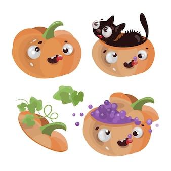 Calabazas divertidas feliz halloween vacaciones dibujos animados dibujado a mano ilustración de diseño plano