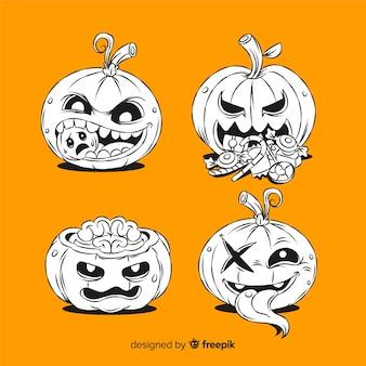 Calabazas espeluznantes dibujadas a mano sobre fondo naranja