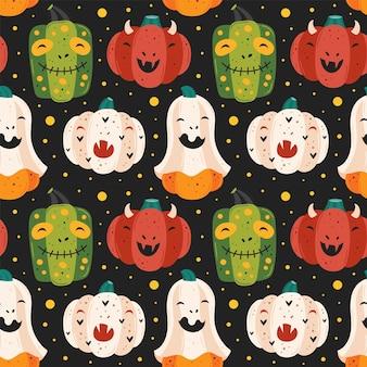 Calabazas espeluznantes. fantasma, diablo, zombi, vampiro. feliz halloween de patrones sin fisuras