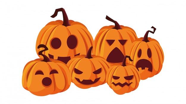 Calabazas feliz celebración de halloween
