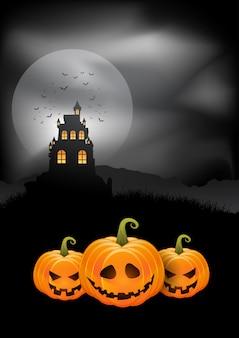 Calabazas de fondo de halloween y castillo espeluznante
