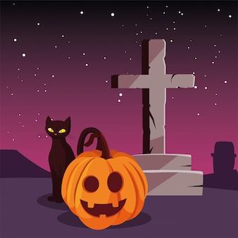 Calabazas gatos y cruz feliz celebración de halloween