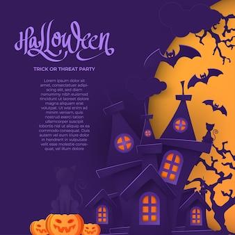 Calabazas de halloween y castillo oscuro sobre fondo de luna, ilustración.