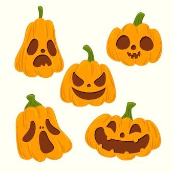 Calabazas de halloween de diseño dibujado a mano
