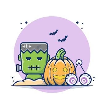 Calabazas de halloween e ilustración de frankenstein