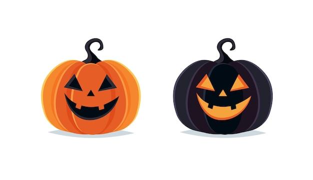 Calabazas de halloween, espeluznante jack o lantern sobre fondo blanco.