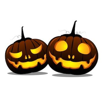 Calabazas de halloween en el fondo blanco.