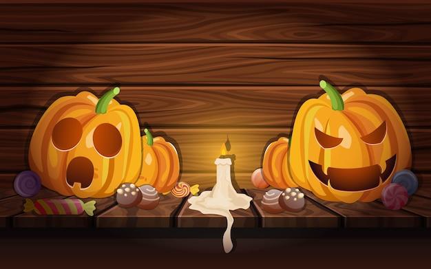 Calabazas de halloween en granero de madera
