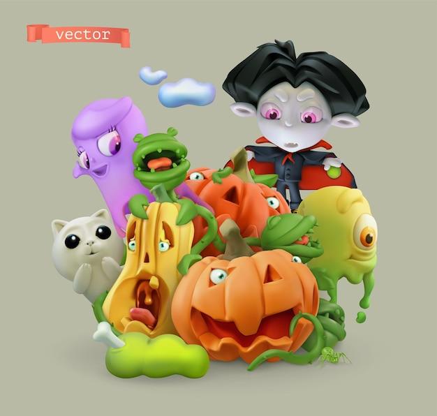 Calabazas de halloween. ilustración de dibujos animados de vector 3d
